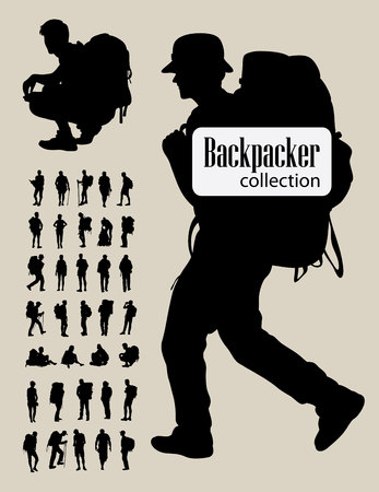 Backpacker Silhouetten art design Stock Illustratie
