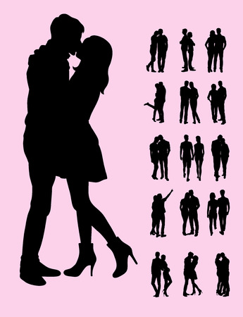 Couple and Kiss Silhouettes, art vector design