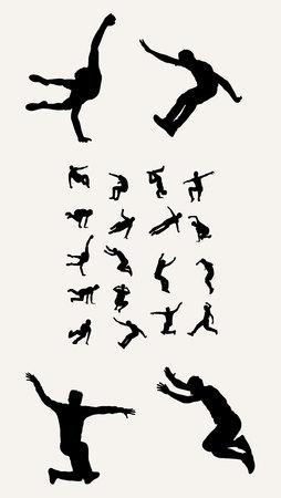 parkour: Silhouettes Tricking Parkour, art vector design Illustration