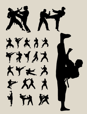 female kick: Taekwondo and Karate Silhouettes