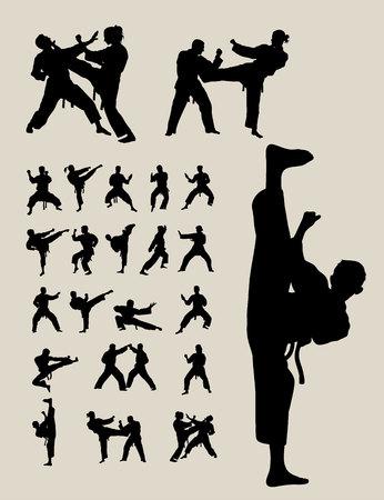 fist fight: Taekwondo and Karate Silhouettes
