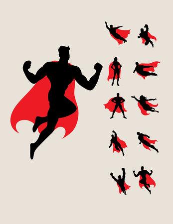 Superhero Silhouettes, conception de vecteur d'art Banque d'images - 48041922