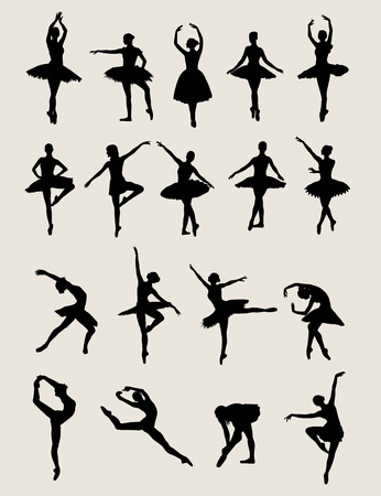 Sylwetki Ballerina, sztuka wektor projektowania
