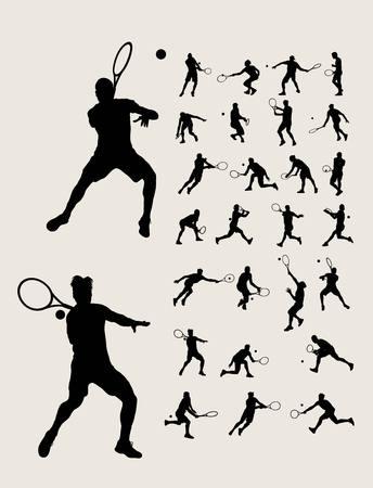 wimbledon: Man Tennis Silhouettes, art design Illustration