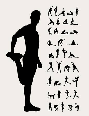 Stretching Silhouetten, art design Stock Illustratie