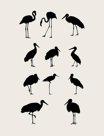heron: Stork and Heron Silhouettes, art vector design
