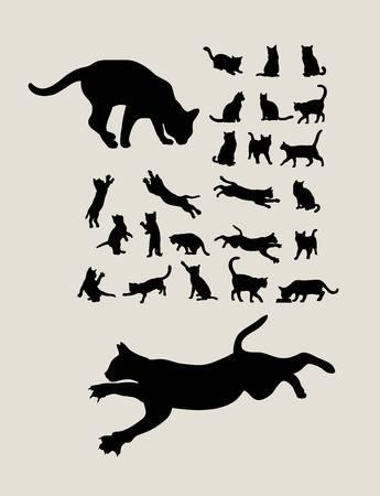 고양이 세트 실루엣, 예술 벡터 디자인 일러스트