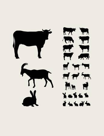 Farm Animal Silhouettes, art vector design