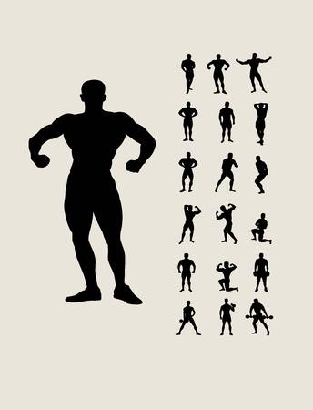 Body Building Set Silhouettes, art vector design