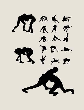 Wrestling Set Silhouettes, art vector design