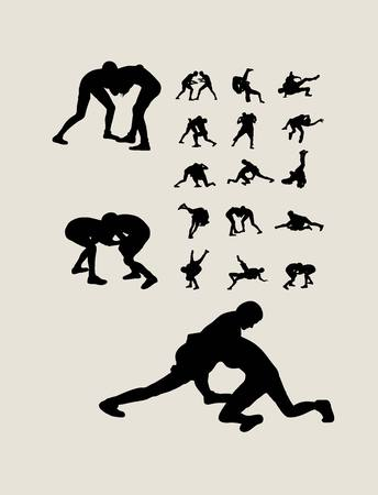 Wrestling Set Silhouettes, art vector design
