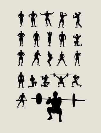 body building: Body Building and Lifting Weights Silhouettes