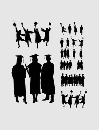 Graduates Silhouettes, art vector design Vectores