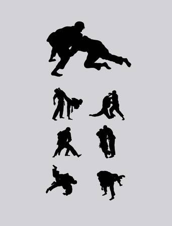 kyokushin: Jiu-jitsu and judo wrestlers, art vector design
