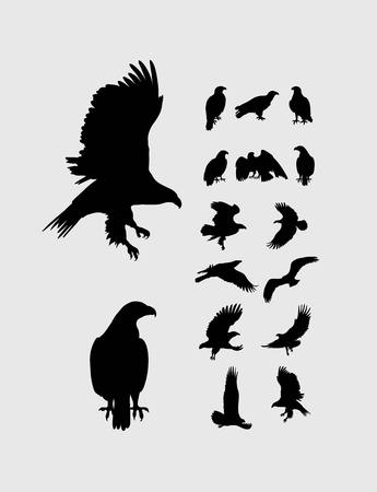 flapping: Eagle Set Silhouettes, art vector design