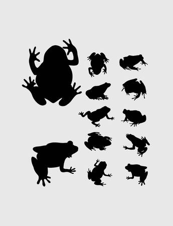 small group of objects: Frog Set Silhouette, art vector design