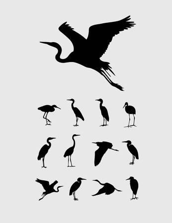 egret: Heron and Stork Bird Silhouettes, art vector design