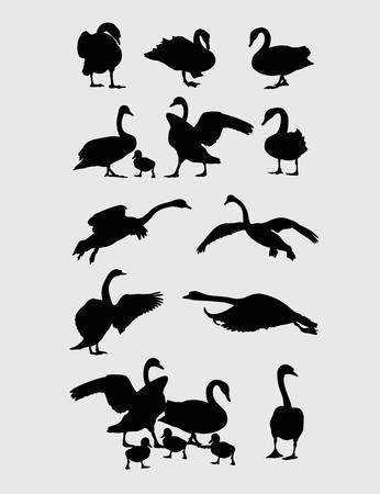 swans: Swans Silhouettes Set,art vector design