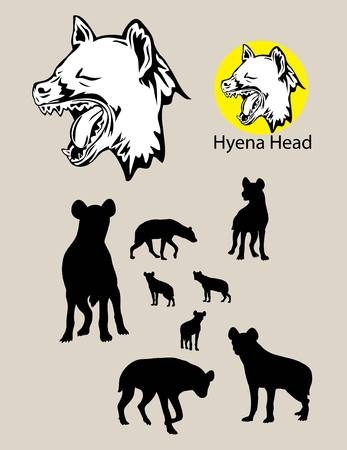 hyena: Hyena Silhouette and Logo, art vector design