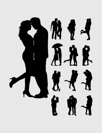 sexy young couple: Romantic couples silhouettes, art vector design