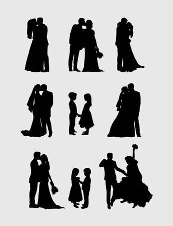 courtship: Wedding Pairs Silhouettes, art vector design Illustration