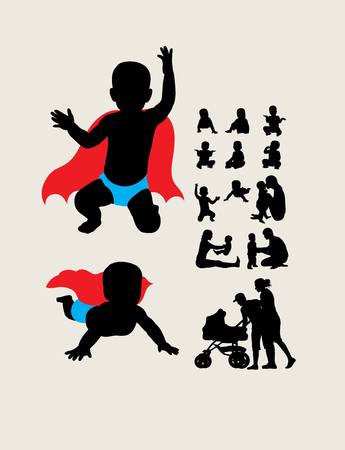child care: Baby is Hero Silhouettes, art vector design Illustration