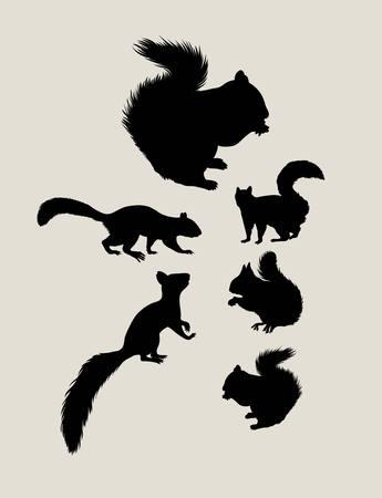 Squirrels Silhouettes, art vector design
