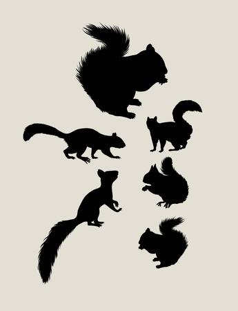 Squirrels Silhouettes, art vector design