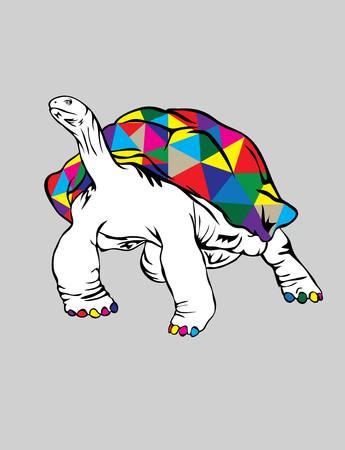 comtemporary: rainbow Turtle, art vector design Illustration