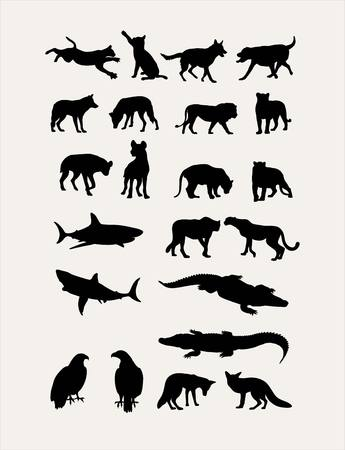 dog shark: Carnivorous Silhouettes, art design Illustration