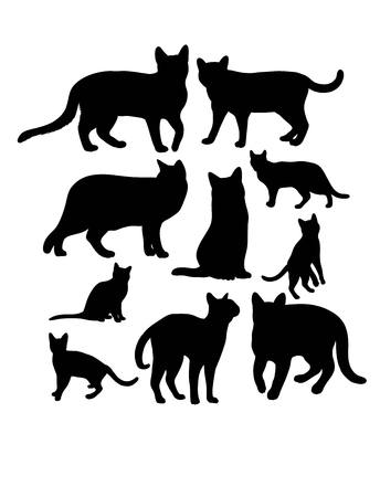 silhouettes: Cats Animal, art silhouettes Illustration