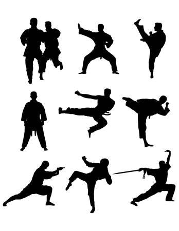 individual sports: Taekwondo and Karate, art silhouettes design