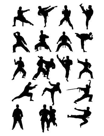 kyokushin: Taekwondo and Karate, art silhouettes design