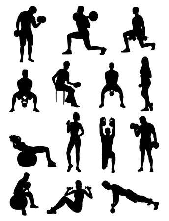 Dumbbell Exercises Silhouettes, art design Illustration