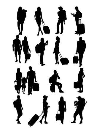 Gens du voyage Silhouettes, la conception de l'art Banque d'images - 57566925