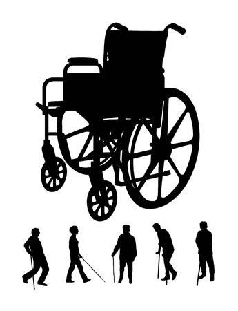 wheel chair: Elderly and Wheel Chair Silhouettes, art design Illustration