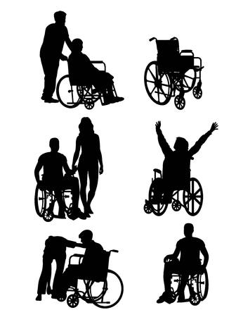 handicapped: Handicapped and wheelchair Silhouettes