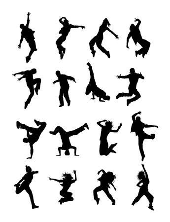 Hip Hop Moderne Tänzer Silhouetten Vektorgrafik