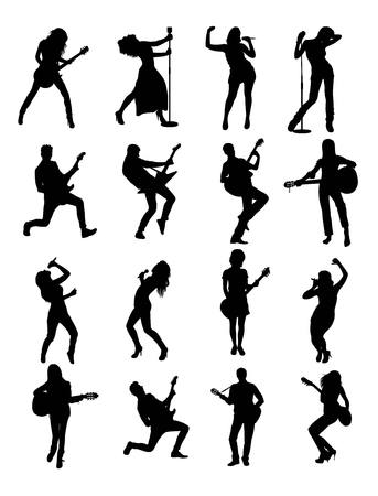 hip hop dance pose: Guitarist and Singer Silhouettes