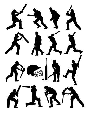 cricketer: Cricket Players Silhouettes