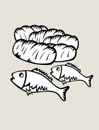 side menu: 2 Fish and 5 Bread, art design