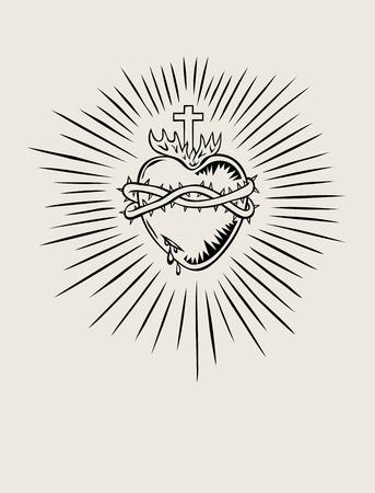 sacred heart: Sacred Heart of Jesus, illustration art design