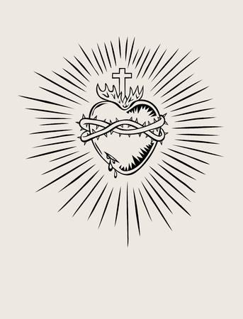 Sagrado Corazón de Jesús, diseño ilustración del arte Ilustración de vector