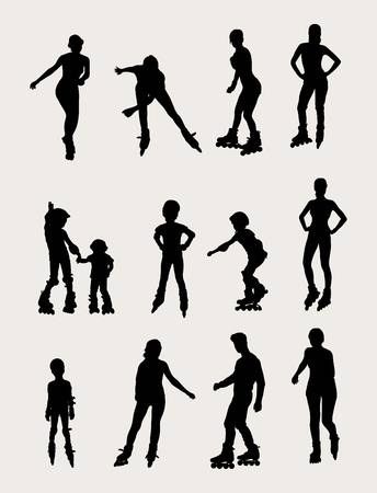 roller skate: Roller Skate Silhouettes, art design Illustration