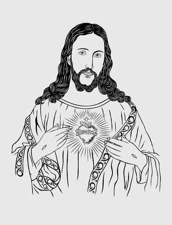 jesus face: Sacred Heart of Jesus, art design
