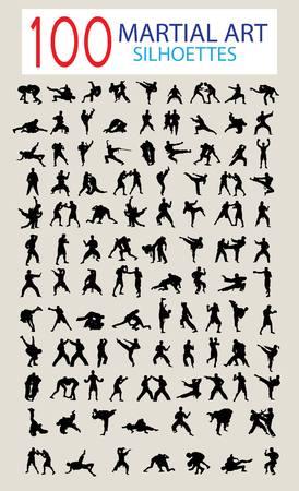 格闘技の 100 のシルエット