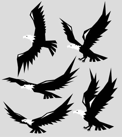 Polygonal Eagle Silhouettes, art vector geometric design Illustration