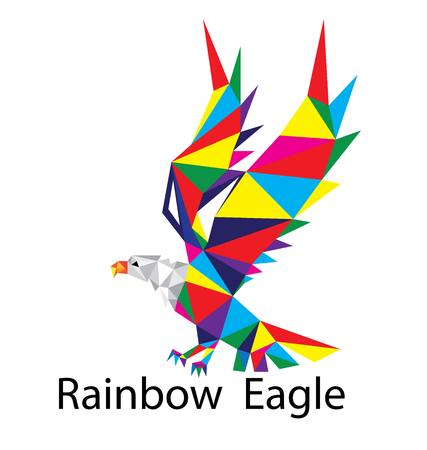 goshawk: Rainbow Eagle Logo, art vector geometric polygonal design