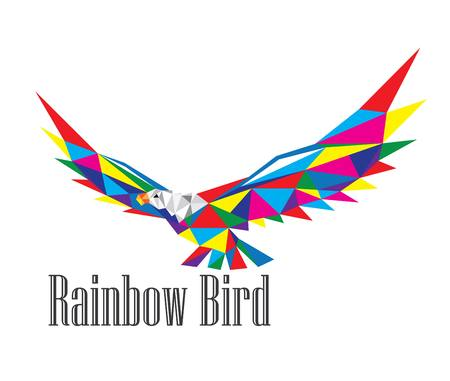 Rainbow Eagle Logo, art vector geometric polygonal design