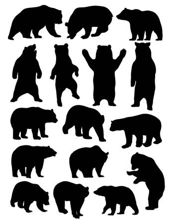 Bear Silhouette Animal, art vector design Vettoriali